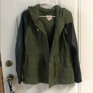 Army green, leather sleeve utility jacket